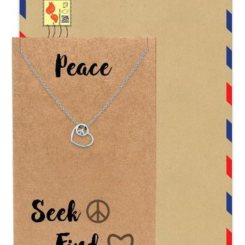 Jellien Love Heart Peace Sign Pendant Necklace Perfect Gift Jewelry