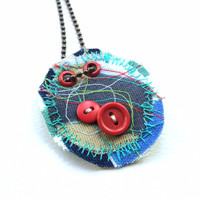 Stitched Fabric with Red Buttons OOAK Pendant Necklace