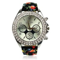 ZLYC Women Diamond Studded Floral Straps Weekender Sports Watch Black