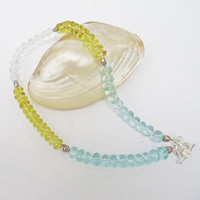 Citrine, Clear and Blue Quartz Necklace, Blue, Yellow and Clear Necklace, Gemstone, UK Seller
