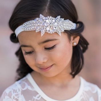 Coralee Ivory Crystal Jewel Headband