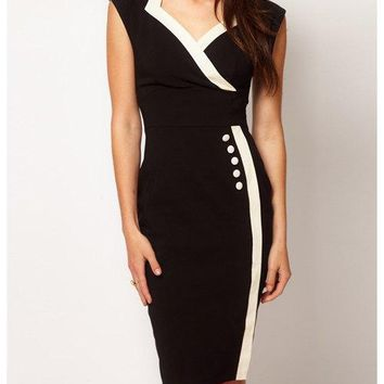 Bodycon Sleeveless Spliced Color Block Dress