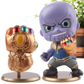 Marvel Avengers 3 Infinity War Infinity Gauntlet Glove / Thanos Figure Action Q Version PVC Collection Model Cosbaby Hot Toys