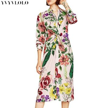 Floral Print Kimono Dress Women Europe V collar long sleeve Knot Plunge Neck Sexy Summer stripe Dresses Fashion maxi dress