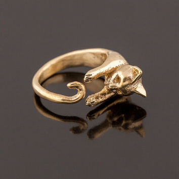 Golden Hugging Cat Ring. Adjustable Cat Ring. Cat Wrap Ring. Handcarved Cat Ring. Boho Animal Ring. Feline Ring. Birth Year Ring. Cat Totem
