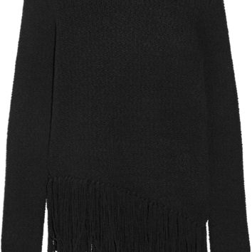 Theory - Asymmetric fringed stretch wool-blend sweater