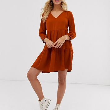 New Look tiered smock dress in rust | ASOS