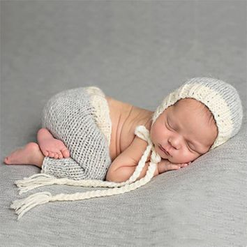 Handmade Crochet Newborn Infant Beanie Hat And Pants
