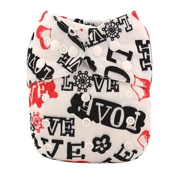 [simfamily]1PC Reusable Waterproof Cloth Nappy Baby Diapers Cartoon Print Suede Cloth Inner Pocket Nappies Whosales PUL Diaper
