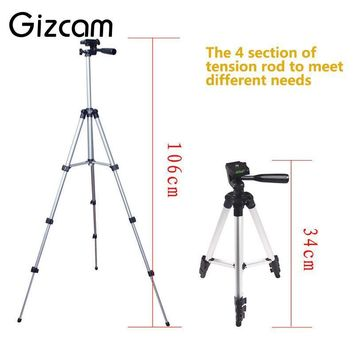 Gizcam Aluminum 4 Sections 35-105cm Tripod Foldable Lightweight With Phone Holder for Smartphone for Sony/Nikon/Canon Camera