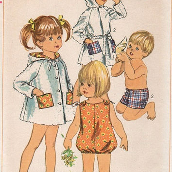 Retro 60s Simplicity Sewing Pattern Child's Beach Cover Up Hooded Robe Jumper Swimsuit Playsuit Shorts Toddler Size 3