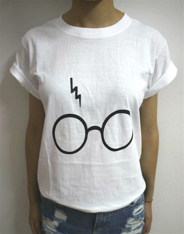 Women T Shirt Harry Potter Lightning Glasses Letters Print Cotton Casual Funny F