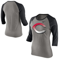 Nike Cincinnati Reds Ladies Gradient Raglan Three-Quarter Sleeve T-Shirt - Gray/Black
