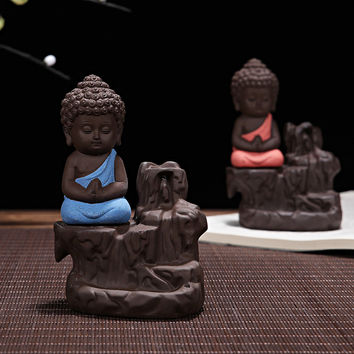 Chinese Incense Sandalwood Cone Incense with Ceramic Yixing Zen Monk Buddha Incense Burner Backflow Stick Censer Ornament