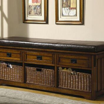 "60"" wide large Mission style Oak finish wood bedroom entry bench with storage basket and drawers"