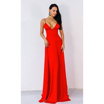Reality Check Red Sleeveless Spaghetti Strap V Neck High Slit Maxi Dress