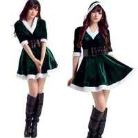 1 PC Women Santa Costume Adult Mrs Miss Claus Sexy Outfit Christmas Fancy Dress Xmas Green