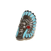 Gypsy Warrior Skull Headdress Ring - Womens Jewelry - Multi