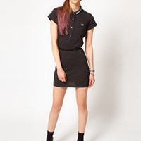 Fred Perry For The Amy Winehouse Foundation Leopard Polo Shirt Dress at asos.com