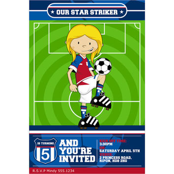 Cute Cartoon Soccer Football Girl Custom Birthday Party Invitation, Digital Printable Sports Invite