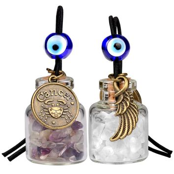 Zodiac Cancer Angel Wings Small Car Charms Home Decor Bottles Fluorite Quartz Birthstone Amulets