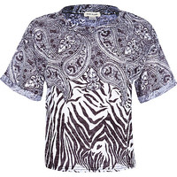 River Island Girls black zebra bandana print top