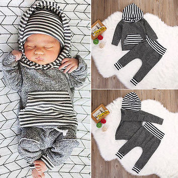 Newborn Baby Boy Girl Warm Long Sleeve Hoodie T-shirt Top+Pant Outfits Set Kids Clothing