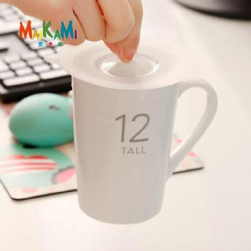 VONC1Y Anti-dust Silicone Glass Cup Cover Coffee Mug Suction Seal Lid Cap Silicone Airtight Love Spoon Novelty