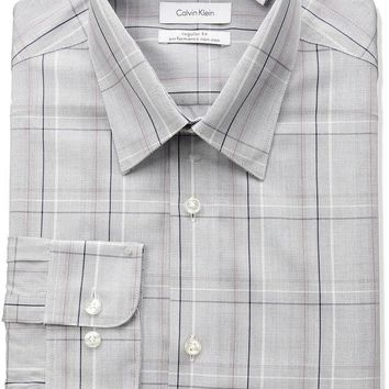 ESBONIS Calvin Klein Men's Non Iron Regular Fit Exploded Plaid Point Collar Dress Shirt, Red/Multi, 16' Neck 34'-35' Sleeve