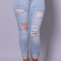 Plus Size Distressed Wisker Wash Skinny Jean - Light Wash