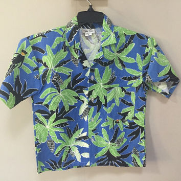 Kids Hawaiian Shirt, Youth M Tropical Shirt, Blue Green Palm Trees Shirt Monkeys Tropical Print Button Down Shirt Boys 6 Kids Vintage Shirt
