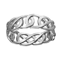 Sterling Silver Celtic Knot Ring (White)