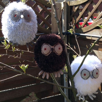 Hand knitted plush owl