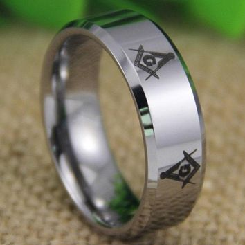 Silver Bevel Freemason Masonic Tungsten Ring Free Engraving