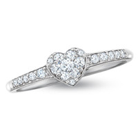 1/4 CT. T.W. Endless Diamond® Heart Promise Ring in 14K White Gold