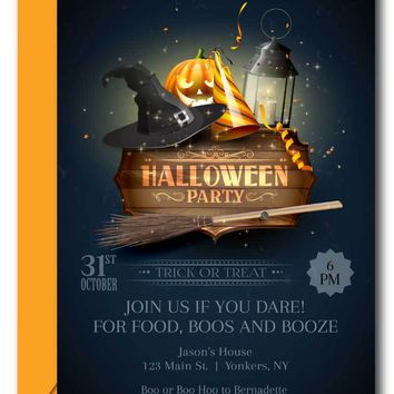Boos and Booze Halloween Party Invitations