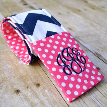 Monogrammed chevron camera strap cover (hot pink/navy)