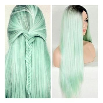 "26"" Fashion Mint Green Ombre Wig Dark Brown Long Straight Synthetic Wig Heat Resistant Fiber Wig"