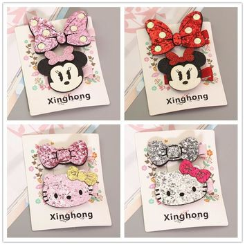 Cute Hello Kitty Minnie Mouse Ears Hairpins Baby Girls Kids Hair Clips Bows Accessories For Children Barrette Hairclip Headwear