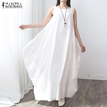 Summer Dress  Women Sleeveless O Neck Sexy Dress Cotton Linen Long Maxi Dresses Casual Loose Retro Solid Vestidos Plus Size