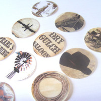 Old West Stickers Set of 22 Hats Boots Rope Nail Crosses Barbed Wire Horses Coach Guns