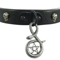 Gothic Punk Rock Emo Snake and Pentagram Charm Skull Stud Leather Choker Collar Necklace