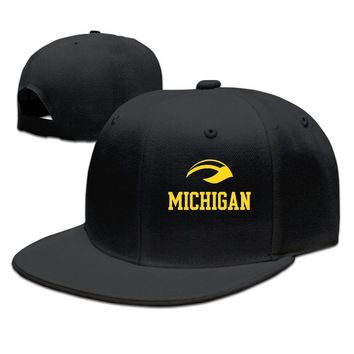 Michigan Wolverines Football Helmet Logo Printed Unisex Adult Womens Hip-hop Hats Mens Fitted Hats