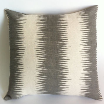Decorative Throw Zipper Pillow Cover Gray and Cream Ikat Print 20x20 Inch Pillow Stripes