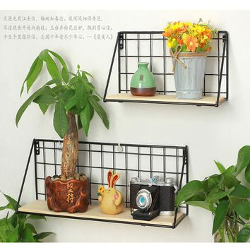 2 Size Simple Metal Wall Mount Sundries Rack Hanging Storage Rack Holder Wall Shelf Home Decor