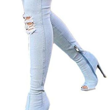 Dellytop Women Long Thigh High Over Knee Open Toe Stiletto Heel Denim Boots