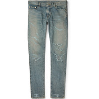 Saint Laurent - Slim-Fit Distressed Stretch-Denim Jeans | MR PORTER