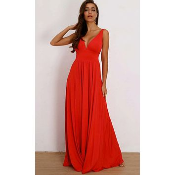 Feeling Fancy Sleeveless Plunge V Neck Side Slit A Line Maxi Dress - 3 Colors Available