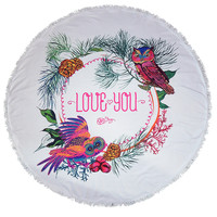 Owl Love You Lotus Round Beach Towel Roundie Blanket