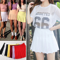 2017 Street Style Fashion Woman Lady High Waist Ball Tennis Pleated Skirt XS-L White Black Red Pink Yellow Saias Femininas